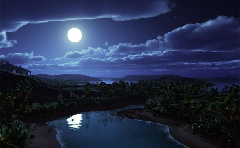 art-night-moon-landscape-hills-palm-trees-river-house-clouds-stars