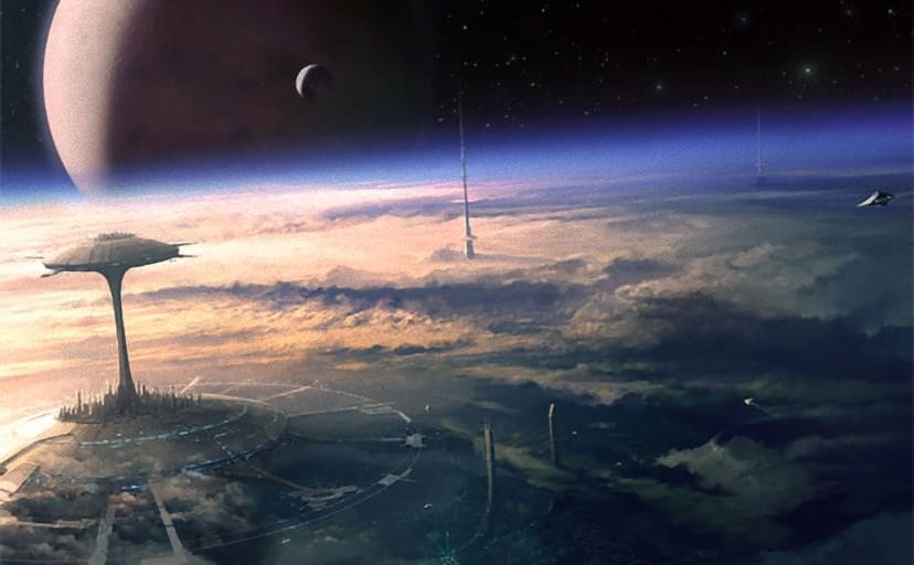 art-space-stars-city-of-the-future-future-planet-moon-orbit-space-ships-clouds