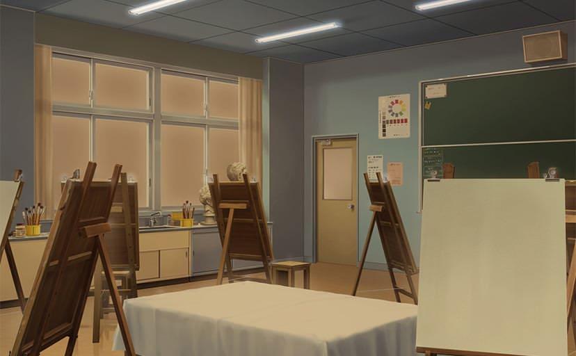 美術室(フリー背景素材)
