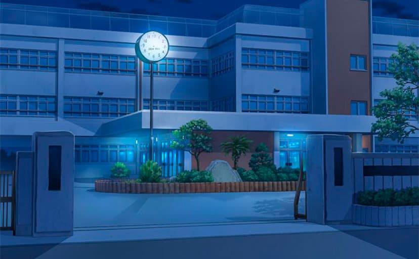 夜の学校(フリー素材)