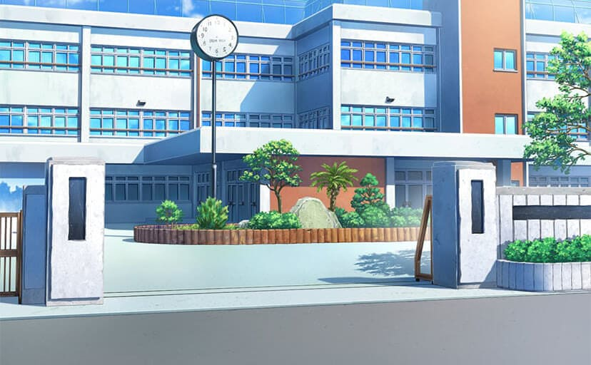 学校の校門(フリー背景素材)