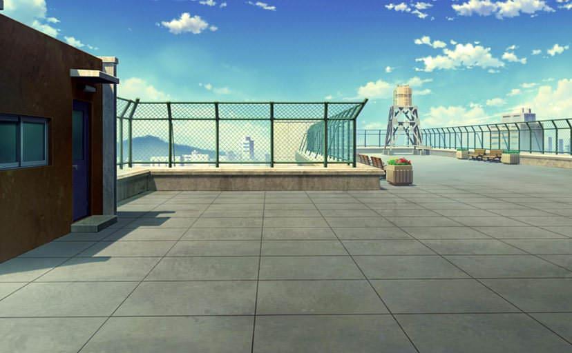 学校の屋上(フリー背景素材)