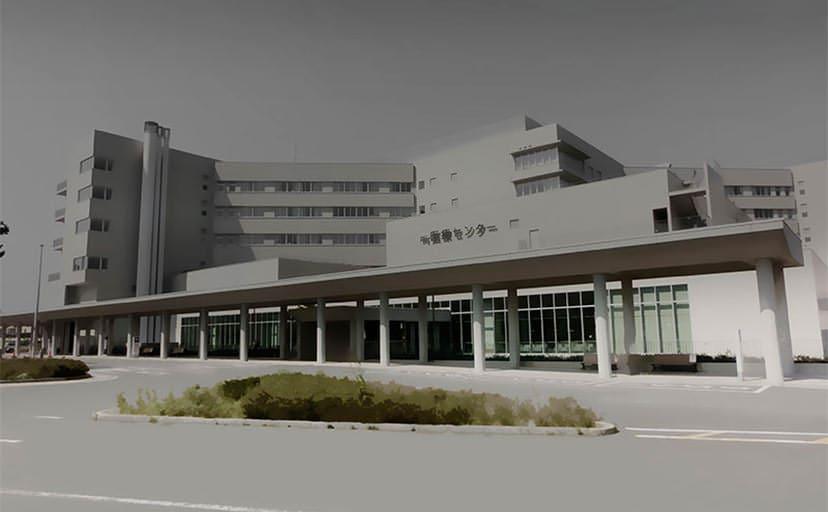夜の病院(フリー背景素材)