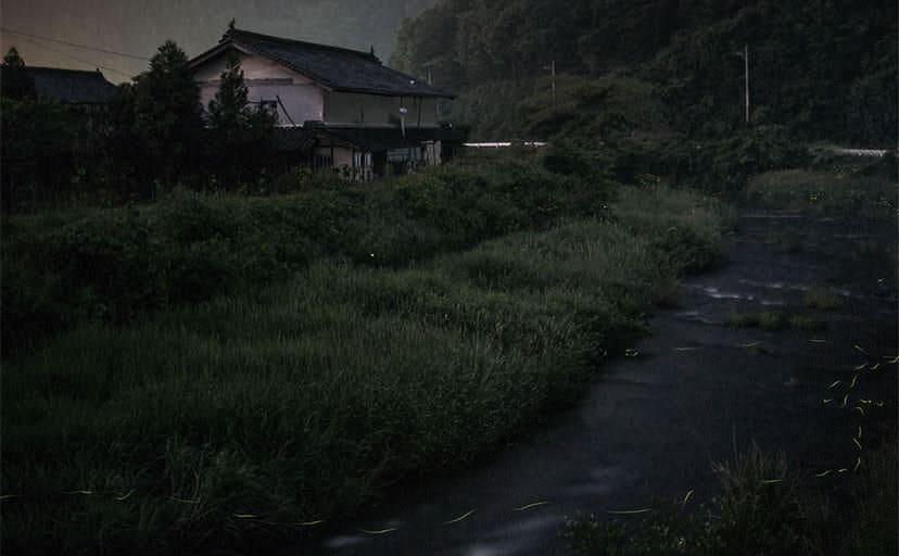 田舎の夜(フリー素材)