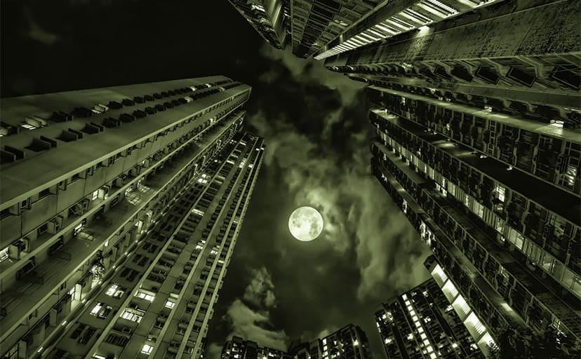 夜のビル街(フリー写真)