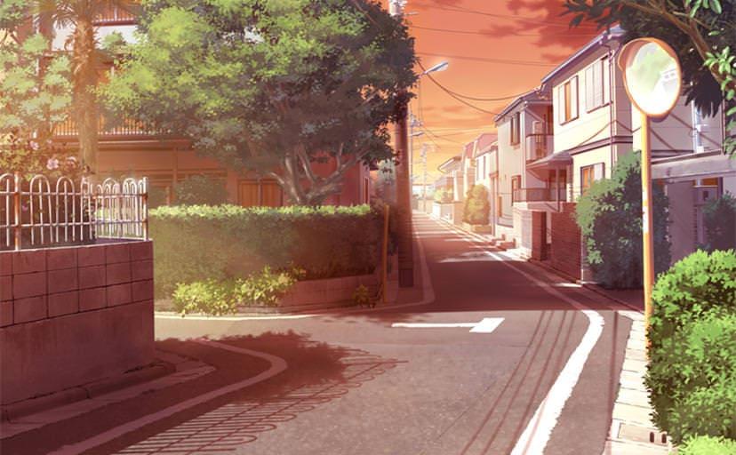 通学路(フリー背景素材)