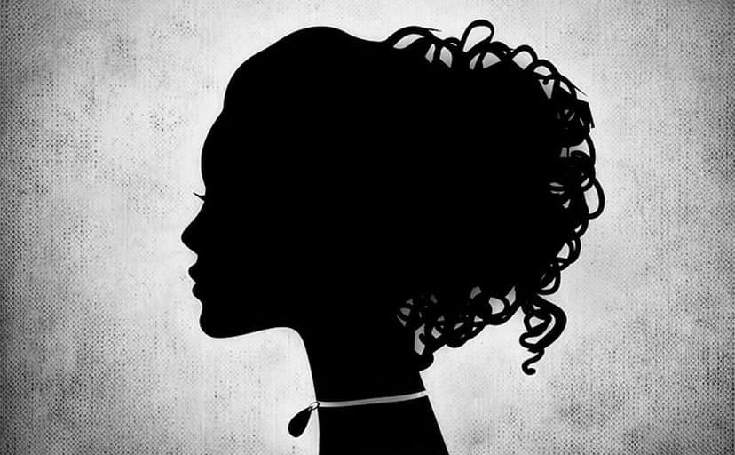女性のシルエット(フリーイラスト)