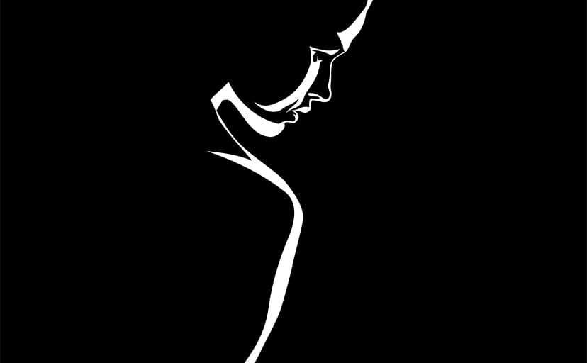 女性のシルエット(フリー素材)